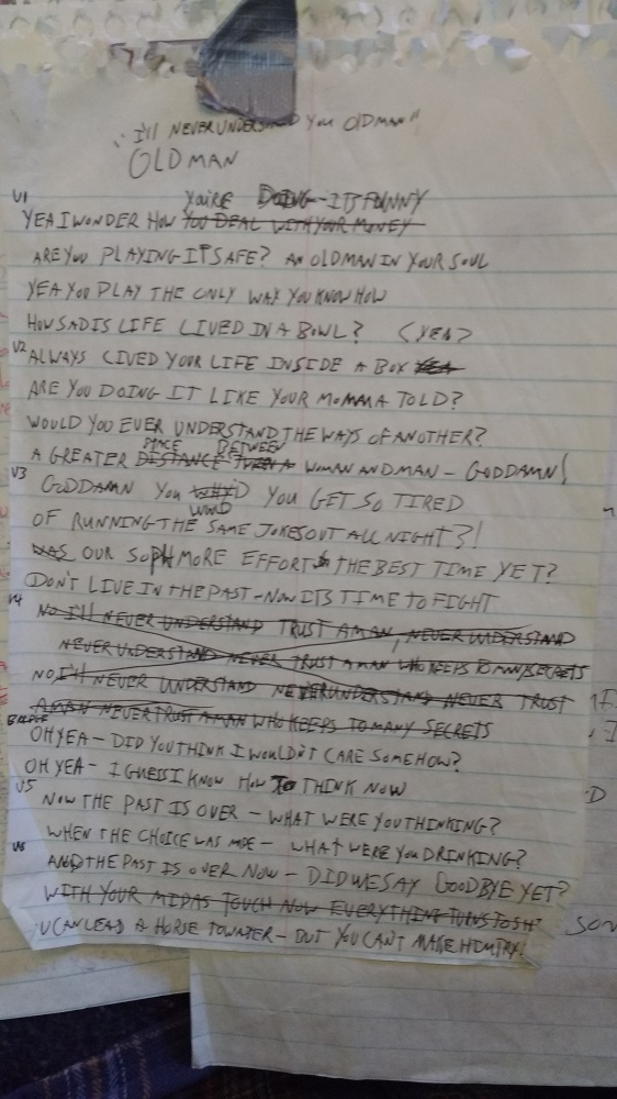 Old Man Lyric Sheet