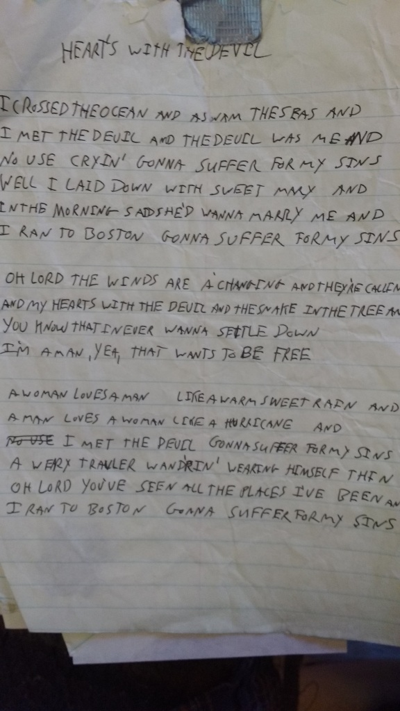 Downfall Road Hears With the Devil Handwritten Lyrics